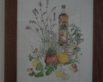 Botanical Kitchen Print Margaret Stevens Framed under Glass Vintage SIGNED 1960