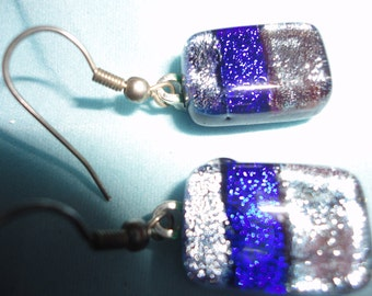 Blue Glass Handmade Recycled Dichroic Glass Earrings With Silver Hooks