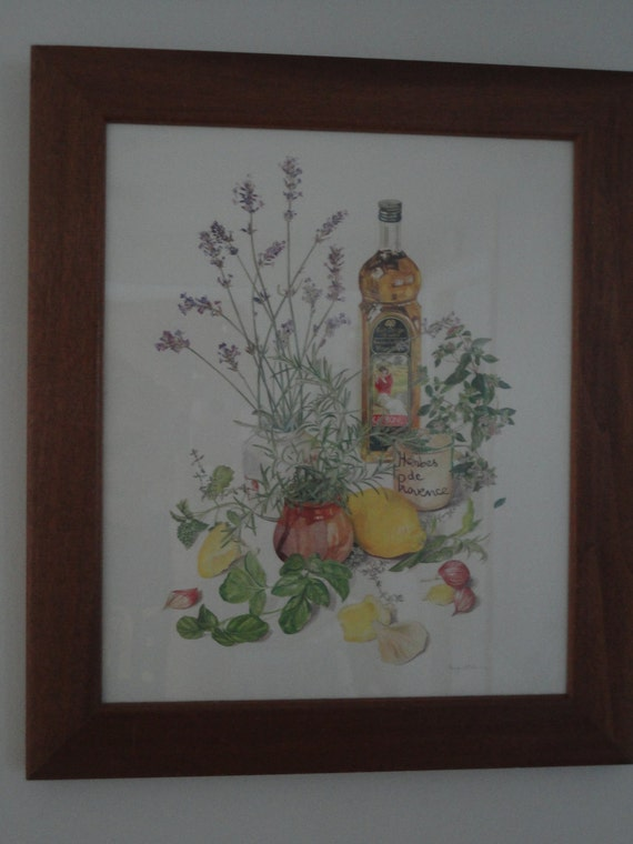 Botanical Kitchen Print Margaret Stevens Framed under Glass Vintage SIGNED 1960