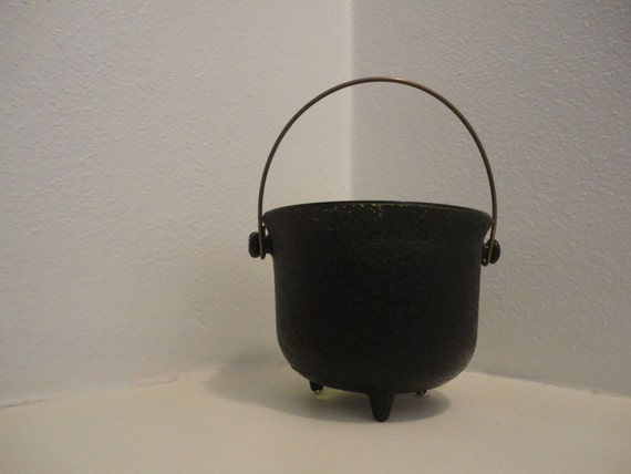 Emerald Green Glass Cauldron Painted Black with Copper handle Wiccan Pagan Wicca