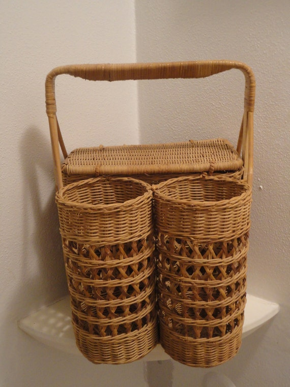 Vintage Wicker Picnic Basket With Two Wine Bottle Holders