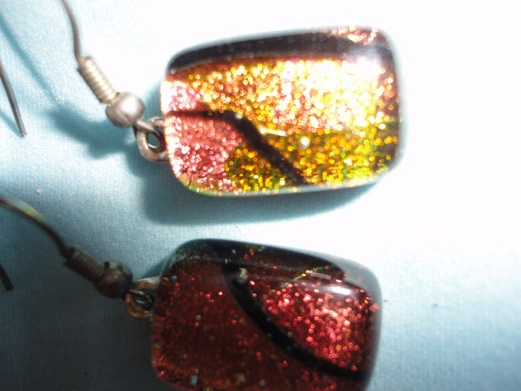 Handmade Recycled Dichroic Glass Earrings Orange Black Reds opalescent