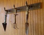 Vintage Garden Tool Rack-Repurposed Brass Faucets and Barn Wood- Hat/Coat/Kitchen Tool Rack