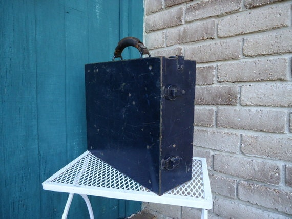 Great Vintage Industrial Dark Blue/Black Metal Box w Hinged Top- Great Patina - Make this one yours