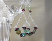 Handmade Garnet and Turquoise Earings in Sterling Silver