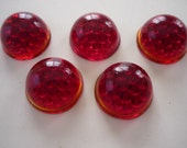 5 Czech, 16.7mm Glass Cabochons bright  red stop light ,5 fly eye,reflector.FREE SHIPPING