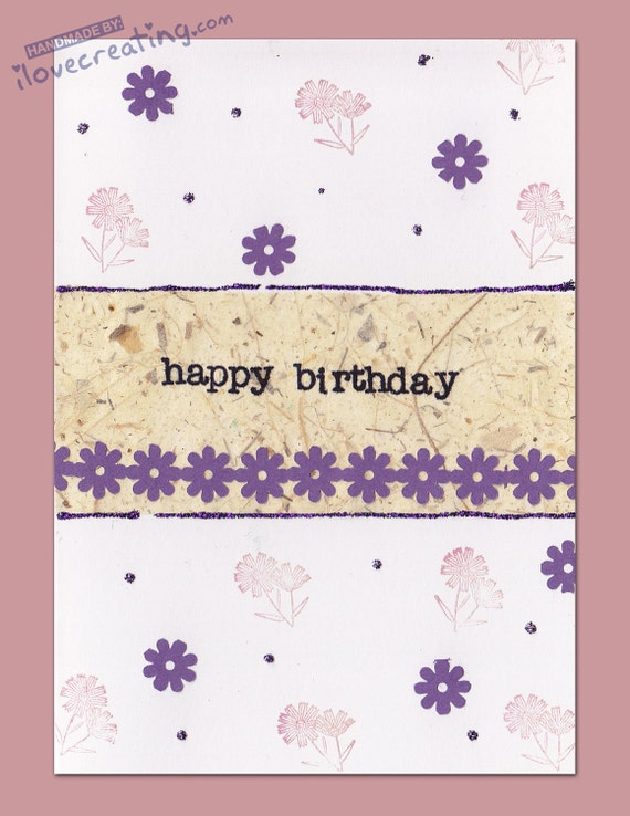Personalized BIRTHDAY CARD Handmade Greeting card with purple and pink flowers