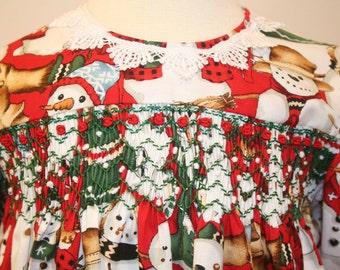 Holiday Classic long sleeve hand smocked dress - size 2