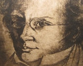 Signed Original Etching ~ Composer Franz Schubert Original Printmaker's Art