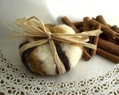 Felted Soap White , Brown and Moustarde - Felted Soap
