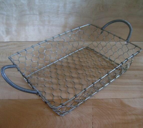 SALE - Small Galvanized Wire Basket