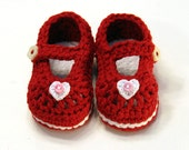 Red Valentine Mary Janes - 0 to 3 months - Crochet Soft Baby Shoes - Super Soft Cotton
