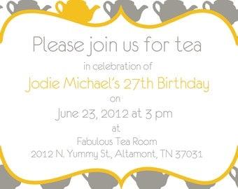 Quaint Square Tea Party Invitation - Printable