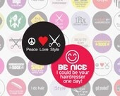 HAIRSTYLIST - 1 Inch Circle Digital Collage Sheet for Bottlecap Pendants, Magnets and More (Instant Download No. 335)
