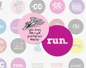 CROSS COUNTRY and TRACK - 1 Inch Circle Digital Collage Sheet for Pendants, Magnets and More ( Instant Download No. 814)