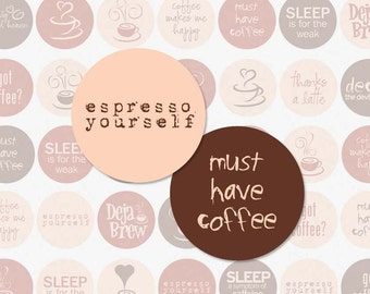 COFFEE TALK - 1 Inch Circles Digital Collage Sheet for Bottle Cap Pendants, Magnets and More (Instant Download No. 0058)