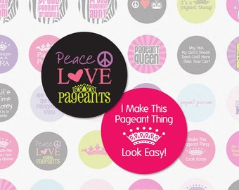 PAGEANTS and BEAUTY QUEEN - 1 Inch Circle Digital Collage Sheet for Hair Bow Centers, Magnets and More (Instant Download No. 557)