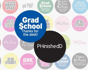 GRADUATE SCHOOL - 1 Inch Circle Digital Collage Sheet for Bottle Cap Pendants, Magnets, Hair Bow Centers and More (Instant Download No. 315)
