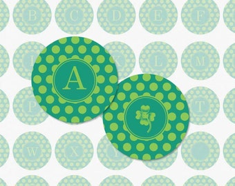 ALPHABET in Green Polka Dot - 1 Inch Circle Digital Collage Sheet for Pendants, Magnets and More (Instant Download No. 136)