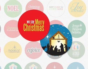 RELIGIOUS CHRISTMAS - 1 Inch Circles For Bottlecap Pendants, Magnets, Hair Bow Centers and More (Instant Download No. 1408)