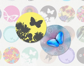 BUTTERFLIES 1 Inch Circle Digital Collage Sheet for Bottlecap Pendants, Magnets and More (Instant Download No. 1319)