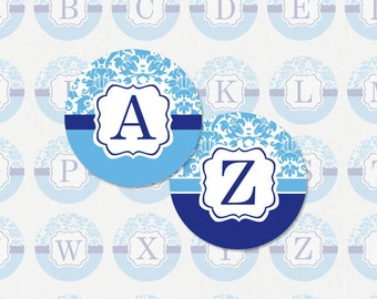 ALPHABET in Sky and Navy Damask - 1 Inch Circle Digital Collage Sheet for Pendants, Magnets and More (Instant Download No.1384)