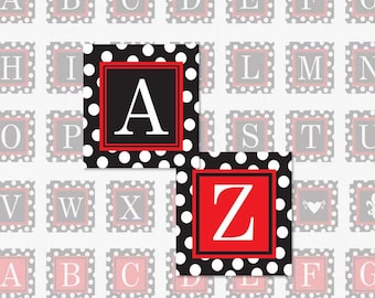 ALPHABET Black and Red Polka Dot - 1.5 Inch Square Digital Collage Sheet for Pendants, Magnets and More (Instant Download No. 1715)