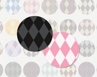 ARGYLE PATTERN - 1 Inch Circle Digital Collage Sheet for Pendants, Magnets and (Instant Download More No.160)