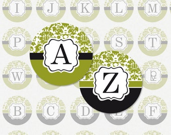ALPHABET in Green and Black Damask - 1 Inch Circle Digital Collage Sheet for Scrapbooking (Instant Download No. 1049)