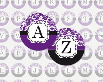 ALPHABET in Purple and Black Damask 1 Inch Circle Digital Collage Sheet (Instant Download No. 1222)
