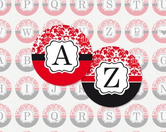 ALPHABET in Red and Black Damask 1 Inch Circle Digital Collage Sheet (Instant Download No. 1223)