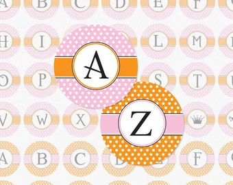 ALPHABET PINK and ORANGE Polka Dot and Stripe - 1 Inch Circle Collage Sheet for Pendants, Magnets and Much More (Instant Download No. 1002)