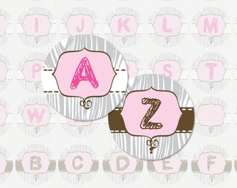 ALPHABET PINK and Gray Sketch - 1 Inch Circle Digital Collage Sheet for Pendants, Magnets and Much More (Instant Download No. 1005)