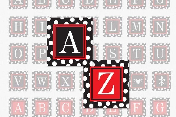 ALPHABET Black and Red Polka Dot - 1 Inch Square Digital Collage Sheet for Pendants, Magnets and More (Instant Download No. 1141)