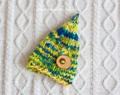 SALE----OOAK NEWBORN Blue Green and Yellow Gnome Pixie Hat with Wood Button  : Photography Prop or Everyday wear with Handspun Merino Yarn