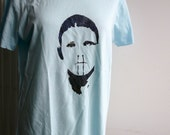 Halloween SALE  New Blue Hand Painted Tshirt for Men or Oversized Tee for Ladies, Size M