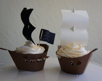 12 Sails and Pirate Ship Cupcake Wrappers