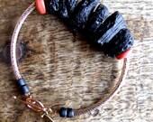 FREE SHIPPING.Check the shop banner for coupon code .no.COB1109 Tektite gemstone nuggets bangle stacking bracelet.