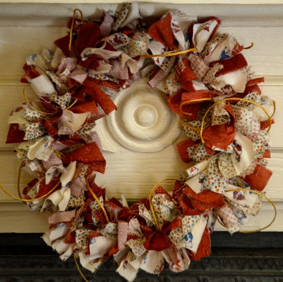 Country cow and twine rag wreath - rust and blue