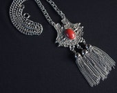 Vintage Medievel Necklace,Symbolic Jewelry, Silver Tassel Jewelry