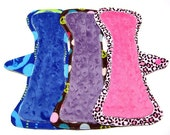 """10"""" Minky or OBV Cloth Overnight Menstrual Pads / Mama Pads / Post Partum - Set of 3 - Light to Medium Flow - Customize Your Se"""