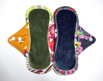 "9"" OBV or Minky Reusable Pantyliners / Incontinence Liners / Mama Cloth - Set of 2 - Cotton and OBV / Minky -  Customize Your Set"