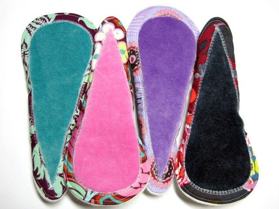 """8"""" OBV or Minky Thong Leak Proof Pantyliners - Set of 4 - Designer Cotton and Organic Bamboo Velour - Customize Your Set"""