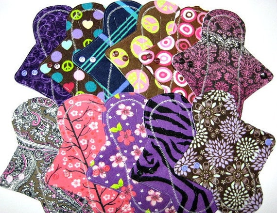 "9"" Reusable Mama Cloth Pads / Menstrual Pads / Incontinence Pads - Free Shipping* - Set of 6 - Medium to Heavy Flow - Customize Your Order"