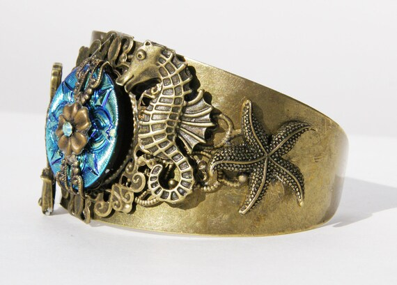 Gorgeous Antique Brass and Teal Cuff Bracelet with Sea Theme