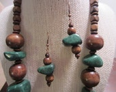 Chunky Funky Hunter Green Stone and Wooden Necklace and Earring Set