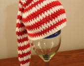 Candy cane striped elf stocking cap - crochet baby red and white hat