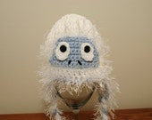 Abominable snow monster earflap newborn baby hat