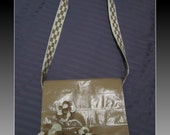 Beige and White Flowered Duct Tape Purse