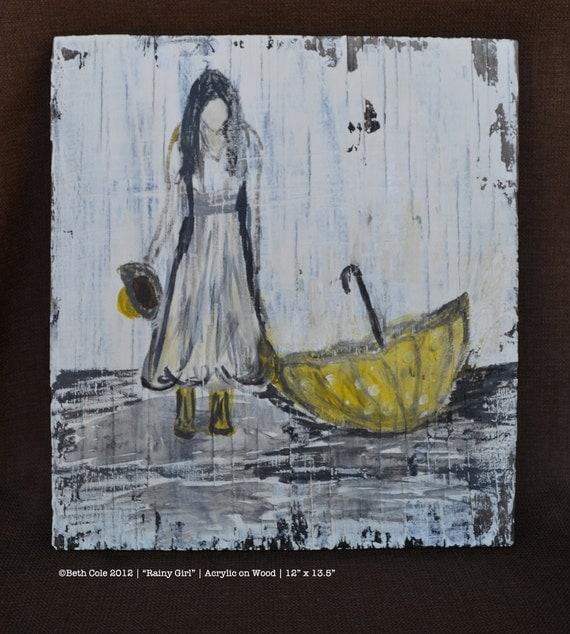 Rainy Girl - Acrylic Paint on Wood